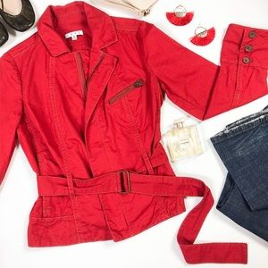 CAbi Belted Moto Style Jacket Red , Medium